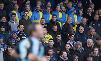 Portsmouth supporters shout at Garry Thompson of Wycombe Wanderers during the Sky Bet League 2 match between Wycombe Wanderers and Portsmouth at Adams Park, High Wycombe, England on 28 November 2015. Photo by Andy Rowland.