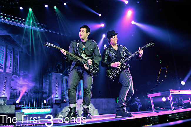 """Zacky Vengeance (Zachary Baker) and Synyster Gates (Brian Haner) of Avenged Sevenfold perform during the """"Nightmare After Christmas Tour"""" at Rupp Arena in Lexington, Kentucky."""