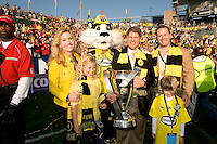 Clark Hunt and family with the MLS trophy at MLS Cup 2008. Columbus Crew defeated the New York Red Bulls, 3-1, Sunday, November 23, 2008. Photo by John Todd/isiphotos.com