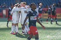 FOXBOROUGH, MA - MARCH 7: DeJuan Jones #24 of New England Revolution reacts to the loss of a goal with the Chicago players celebrating in the background during a game between Chicago Fire and New England Revolution at Gillette Stadium on March 7, 2020 in Foxborough, Massachusetts.