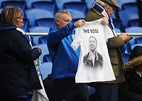A Leicester City fan holds up a shirt in memory of Vichai Srivaddhanaprabha<br /> <br /> Photographer Kevin Barnes/CameraSport<br /> <br /> The Premier League -  Cardiff City v Leicester City - Saturday 3rd November 2018 - Cardiff City Stadium - Cardiff<br /> <br /> World Copyright © 2018 CameraSport. All rights reserved. 43 Linden Ave. Countesthorpe. Leicester. England. LE8 5PG - Tel: +44 (0) 116 277 4147 - admin@camerasport.com - www.camerasport.com
