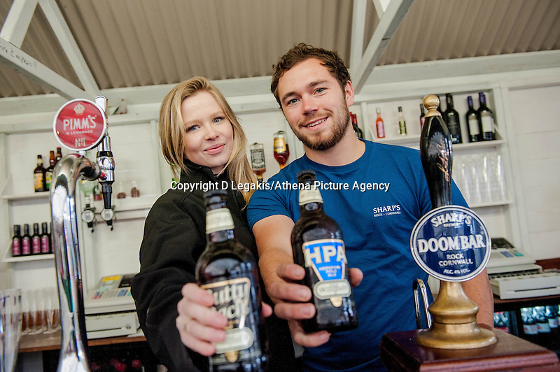 Thursday  29 May 2014, Hay on Wye, UK<br /> Pictured: ( L-R ) Jessica and George Behind the ' Dylan Thomas'  Bar at the festival <br /> Re: The Hay Festival, Hay on Wye, Powys, Wales UK.