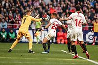 7th March 2020; Wanda Metropolitano Stadium, Madrid, Spain; La Liga Football, Atletico de Madrid versus Sevilla; Tomas Vaclik (Sevilla FC) safely collects the through ball