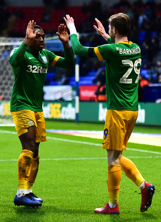 Preston North End's Tom Barkhuizen celebrates scoring his side's second goal with Darnell Fisher<br /> <br /> Photographer Richard Martin-Roberts/CameraSport<br /> <br /> The EFL Sky Bet Championship - Bolton Wanderers v Preston North End - Saturday 9th February 2019 - University of Bolton Stadium - Bolton<br /> <br /> World Copyright &copy; 2019 CameraSport. All rights reserved. 43 Linden Ave. Countesthorpe. Leicester. England. LE8 5PG - Tel: +44 (0) 116 277 4147 - admin@camerasport.com - www.camerasport.com