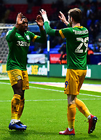 Preston North End's Tom Barkhuizen celebrates scoring his side's second goal with Darnell Fisher<br /> <br /> Photographer Richard Martin-Roberts/CameraSport<br /> <br /> The EFL Sky Bet Championship - Bolton Wanderers v Preston North End - Saturday 9th February 2019 - University of Bolton Stadium - Bolton<br /> <br /> World Copyright © 2019 CameraSport. All rights reserved. 43 Linden Ave. Countesthorpe. Leicester. England. LE8 5PG - Tel: +44 (0) 116 277 4147 - admin@camerasport.com - www.camerasport.com