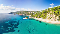 The beach Stafylos of Skopelos island from drone, Greece