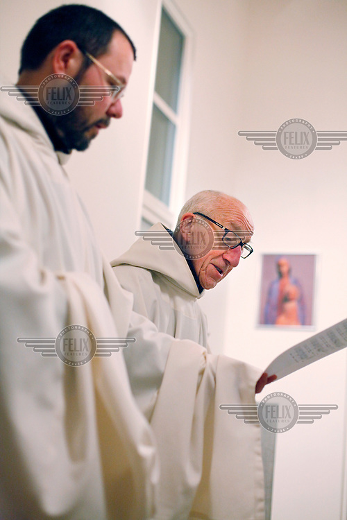 """Laudes and masse being held in the morning. Brothers Bruno (left) and Cyril.The new Munkeby Mariakloster - kloster is Norwegian for monastery . The four founding French monks will establish their discrete presence as a contemplative monastery according to the Rule of Saint Benedict, written in the 6th century. Brother Joel (55) & Cîteaux's Prior, brothers Arnaud (31), Bruno (33) and Cyril (81), have all chosen to be part of the founding community, despite Norway's rude climate and winter darkness at latitude 63º N, not far from the arctic circle.Munkeby, the """"place of the monks"""" was the third and northernmost Norwegian monastery established by the Cistercians in the 12th century"""