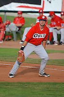 Orem Owlz first baseman Eric Aguilera (33) on defense against the Ogden Raptors at Lindquist Field on July 05, 2013 in Ogden Utah. (Stephen Smith/Four Seam Images)
