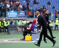 Calcio, Serie A: Roma vs Napoli. Roma, stadio Olimpico, 25 aprile 2016.<br /> Roma&rsquo;s coach Luciano Spalletti celebrates at the end of the Italian Serie A football match between Roma and Napoli at Rome's Olympic stadium, 25 April 2016. Roma won 1-0.<br /> UPDATE IMAGES PRESS/Isabella Bonotto