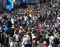 Feb 25, 2018; Chandler, AZ, USA; Fans in the pits surround the dragster of NHRA top fuel driver Leah Pritchett (left) and Brittany Force during the Arizona Nationals at Wild Horse Pass Motorsports Park. Mandatory Credit: Mark J. Rebilas-USA TODAY Sports