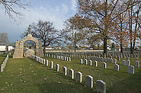 Camp Chase Cemetery in Columbus, Ohio. The Hilltop community association adopted maintenance of the Civil War cemetery and offers an annual memorial service honoring the more than 2,200 soldiers for the Confederacy and other Southern sympathizers buried in the small plot of land on the city's southeast side.<br />