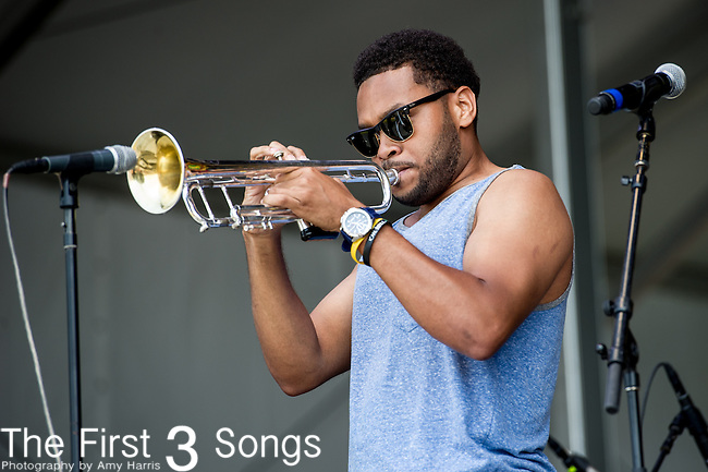 Julian Gosin of the Soul Rebels performs during the New Orleans Jazz & Heritage Festival in New Orleans, LA.