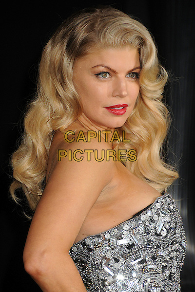 Stacy Ferguson - Fergie of Black Eyed Peas.'New Year's Eve' Los Angeles premiere at  Grauman's Chinese Theatre, Hollywood, California, USA..5th December 2011.headshot portrait red lipstick silver side strapless sequins sequined .CAP/ADM/BP.©Byron Purvis/AdMedia/Capital Pictures.