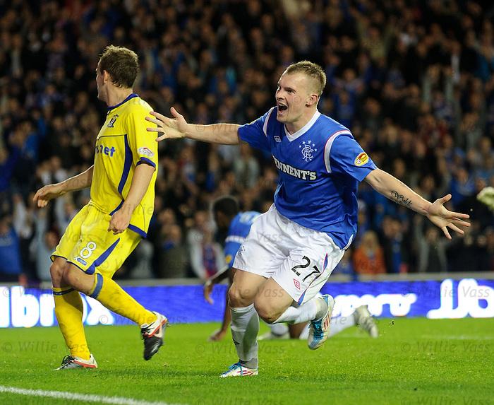 Gregg Wylde celebrates scoring Rangers second goal