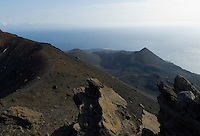 Spain, Canary Islands, La Palma, view from vulcano San Antonio near village Los Canarios Fuencaliente at vulcano Teneguia, last eruption 1971