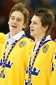 (Erixon) Oliver Ekman Larsson (Sweden - 3) - Team Sweden celebrates after defeating Team Switzerland 11-4 to win the bronze medal in the 2010 World Juniors tournament on Tuesday, January 5, 2010, at the Credit Union Centre in Saskatoon, Saskatchewan.