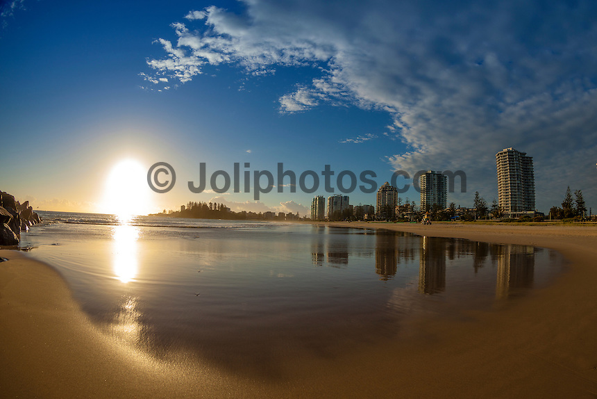 Coolangatta, Queensland/Australia (Tuesday, April 23, 2013) - A  swell  in the 2' range was all that was hitting the Gold Coast today. The Autumn weather has been producing amazing sunrises and some spectacular afternoon clouds.Photo: joliphotos.com