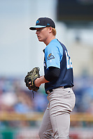 Trenton Thunder starting pitcher Nick Nelson (62) gets ready to deliver a pitch during a game against the Hartford Yard Goats on August 26, 2018 at Dunkin' Donuts Park in Hartford, Connecticut.  Trenton defeated Hartford 8-3.  (Mike Janes/Four Seam Images)