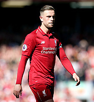 Liverpool's Jordan Henderson is left dejected at the final whistle<br /> <br /> Photographer Rich Linley/CameraSport<br /> <br /> The Premier League - Liverpool v Wolverhampton Wanderers - Sunday 12th May 2019 - Anfield - Liverpool<br /> <br /> World Copyright © 2019 CameraSport. All rights reserved. 43 Linden Ave. Countesthorpe. Leicester. England. LE8 5PG - Tel: +44 (0) 116 277 4147 - admin@camerasport.com - www.camerasport.com