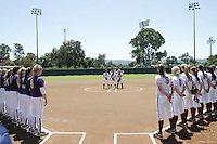 STANFORD, CA - April 30, 2011:  Players and the national anthem before Stanford's 7-1 loss to Washington at Stanford, California on April 30, 2011.