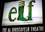 Theatre Marquee the First Performance Curtain Call of the Broadway Holiday Hit Musical 'Elf'  at the Al Hirschfeld  Theatre in New York City on 11/09/2012