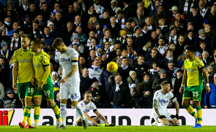 Leeds United players reacts to going 2-0 down<br /> <br /> Photographer Alex Dodd/CameraSport<br /> <br /> The EFL Sky Bet Championship - Leeds United v Norwich City - Saturday 2nd February 2019 - Elland Road - Leeds<br /> <br /> World Copyright © 2019 CameraSport. All rights reserved. 43 Linden Ave. Countesthorpe. Leicester. England. LE8 5PG - Tel: +44 (0) 116 277 4147 - admin@camerasport.com - www.camerasport.com