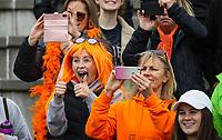 Midlands fans. Midlands celebrate. Midlands v Auckland 3rd place game. National Hockey League Finals Day action, National Hockey Stadium, Wellington, New Zealand. Sunday 23 September 2018. Photo: Simon Watts/www.bwmedia.co.nz/Hockey NZ