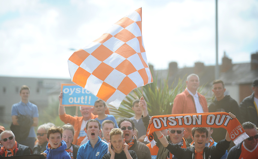 Blackpool fans stage a protest against the club's owners before todays match<br /> <br /> Photographer Kevin Barnes/CameraSport<br /> <br /> Football - The Football League Sky Bet League One - Blackpool v Rochdale - Saturday 15th August 2015 - Bloomfield Road - Blackpool<br /> <br /> &copy; CameraSport - 43 Linden Ave. Countesthorpe. Leicester. England. LE8 5PG - Tel: +44 (0) 116 277 4147 - admin@camerasport.com - www.camerasport.com
