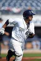 Charlotte Stone Crabs catcher Armando Araiza (19) runs to first during a game against the Daytona Tortugas on April 14, 2015 at Charlotte Sports Park in Port Charlotte, Florida.  Charlotte defeated Daytona 2-0.  (Mike Janes/Four Seam Images)