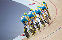05 DEC 2014 - STRATFORD, LONDON, GBR - The team from Ukraine (UKR) race around the track during qualifying for the Women's Team Pursuit at the 2014 UCI Track Cycling World Cup at the Lee Valley Velo Park in Stratford, London, Great Britain (PHOTO COPYRIGHT © 2014 NIGEL FARROW, ALL RIGHTS RESERVED)