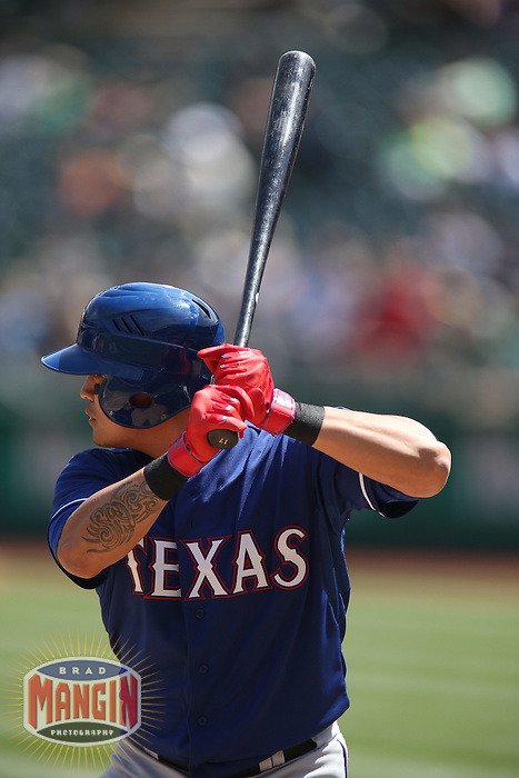 OAKLAND, CA - APRIL 9:  Shin-Soo Choo #17 of the Texas Rangers bats against the Oakland Athletics during the game at O.co Coliseum on Thursday, April 9, 2015 in Oakland, California. Photo by Brad Mangin