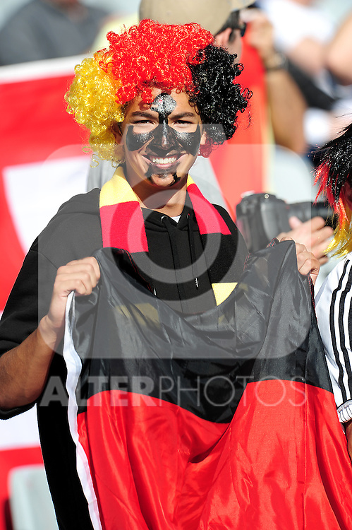 Fans get in the mood during the 2010 FIFA World Cup South Africa Quarter Final match between Germany and Argentina at the Green Point  Stadium on July 3, 2010 in Cape town, South Africa.