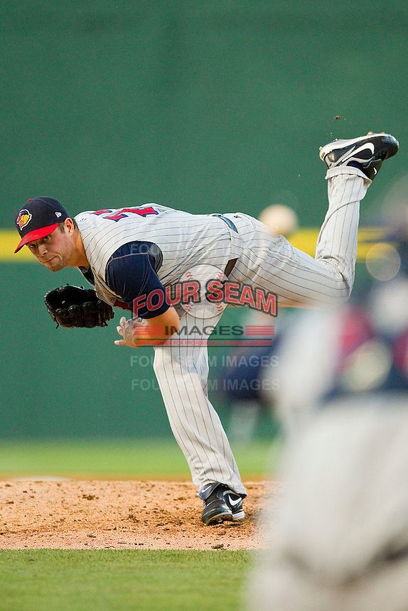 Toledo Mud Hens starting pitcher Andy Oliver #27 follows through on his delivery against the Charlotte Knights at Knights Stadium on May 10, 2012 in Fort Mill, South Carolina.  (Brian Westerholt/Four Seam Images)