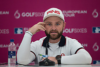 Andy Sullivan (England) takes a media interview ahead of the GOLFSIXES ProAm  at Centurion Club, St Albans, England on 5 May 2017. Photo by Andy Rowland.