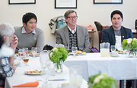 Occidental College students have lunch with faculty, donors and alumni after participating in a panel discussion about their experiences working on presidential, senate, house, governor and state legislative races in eleven states this fall as part of Campaign Semester. Photo taken on Dec. 8, 2016. Oxy is the only college in the country with a program like this.<br /> (Photo by Marc Campos, Occidental College Photographer)