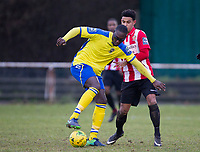 Some fancy footwork from Jorge Djassi Sambu sets up a strike on goal for Haringey Borough during AFC Hornchurch vs Haringey Borough, Bostik League Division 1 North Football at Hornchurch Stadium on 10th February 2018