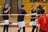 STANFORD, CA - January 2, 2018: Eric Beatty, Jacob Thoenen, Russell Dervay, JP Reilly, Evan Enriques at Burnham Pavilion. The Stanford Cardinal defeated the Calgary Dinos 3-1.