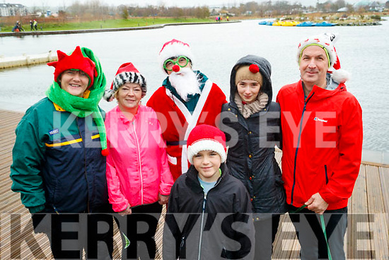 Breda Quirke (Camp), Marie Ward (Tralee), Jack Cull (Castlegregory), Mairead Moore (Castlegregory) with Zara Harnett and William Harnett (Tralee), all who took part in the Santa Run at Tralee Bay Wetlands on Sunday morning last.