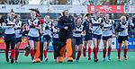 HUIZEN - Hockey - tevreden gezichten van 0a Eefje Verhees, Sascha Olderaan (HUI) ,   na de wedstrijd.   Hoofdklasse hockey competitie, Huizen-Bloemendaal (2-1) . COPYRIGHT KOEN SUYK