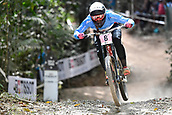 10th September 2017, Smithfield Forest, Cairns, Australia; UCI Mountain Bike World Championships; Miranda Miller (CAN) riding for Specialized Gravity on her way to first place in the elite womens downhill race;