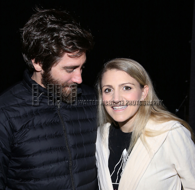 Jake Gyllenhaal and Annaleigh Ashford during the Actors' Equity opening night Gypsy Robe Ceremony honoring  MaryAnn Hu for ''Sunday in the Park with George' at the Hudson Theatre on February 23, 2017 in New York City.