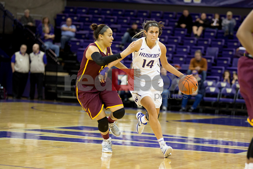 The University of Washington women's basketball team defeats Arizona State University at the Alaska Airlines Arena on the campus of the UW in Seattle, Wash. on January 3, 2013 (Photography By Scott Eklund/Red Box Pictures)