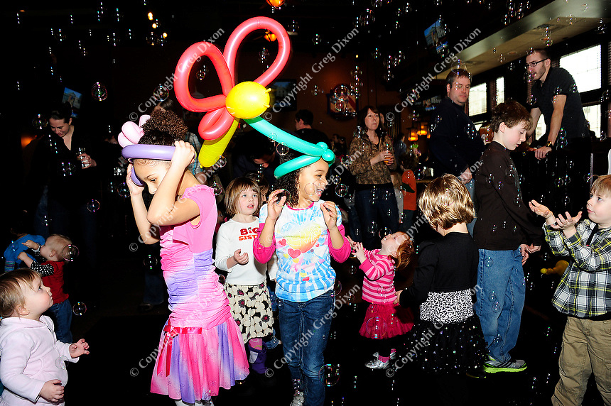 Kid Disco at the Great Dane Hilldale with DJ Nick Nice spinning music tracks, with dancing, a bubble machine, face painting and balloon animals by Funny Faces Children's Entertainment and featuring James the Magician on Saturday, Mar. 3, 2012, in Madison, Wisconsin