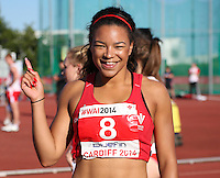 Tuesday 15th July 2014<br /> Pictured: Mica Moore<br /> RE: Mica Moore wins the women's 100m A final at the Welsh Athletics International in Cardiff in 11.91 seconds ahead of Hannah Brier. Cardiff International Sports Stadium Wales UK