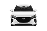 Car photography straight front view of a 2018 Hyundai Ioniq Hybrid Blue 5 Door Hatchback