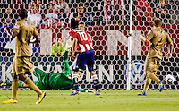 Philadelphia Union goalkeeper Chris Seitz (1) can only watch as a CD Chivas USA Blair Gavin shot slides in the net. The Philadelphia Union and CD Chivas USA played to 1-1 draw at Home Depot Center stadium in Carson, California on Saturday evening July 3, 2010..
