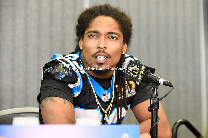 Tuesday, February 2, 2016: Carolina Panthers free safety Tre Boston (33) talks to the media at the San Jose Convention Center  during a press conference for the National Football League Super Bowl 50 between the Denver Broncos and the Carolina Panthers. Eric Canha/CSM