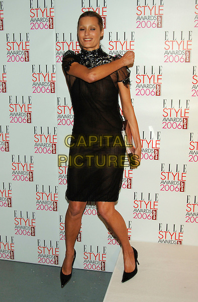 YASMIN LE BON.Elle Style Awards 2006.The Old Truman Brewery, Brick Lane.London, England.20th February 20th, 2006..full length black dress sheer high neck.Ref: PL.www.capitalpictures.com.sales@capitalpictures.com.©Phil Loftus/Capital Pictures.