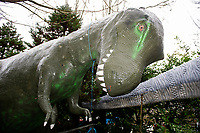 "Pictured: A general view of the Dinosaur outside of Dan Yr Ogof, The National Showcaves Centre for Wales, Abercraf, Swansea, Wales, UK<br /> A 3/4 of a tonne dinosaur is being auctioned off  in order to raise funds for JDRF, a charity that funds research into finding a cure for people with type I diabetes.<br /> The 15 ft tall (4.6mtrs) fibreglass Allosaurus has been part of the exhibition at Dan Yr Ogof, The National Showcaves Centre for Wales, for some years.<br /> The idea for the auction came from Ashford Price, chairman of the National Show Caves for Wales at Dan yr Ogof, whose son and grandson both live with type 1 diabetes. Ashford said: ""Diabetes is a difficult medical condition even for adults, but for young children it is so much harder.<br /> ""Some young children have six insulin injections every day just to stay alive. Can you imagine the parents' anguish having to put a child through this daily ritual?<br /> The dinosaur measures 24ft long (7.3mtrs) and its 8ft (2.4mtrs) at its widest point <br /> The dinosaur is being auctioned to the highest bidder in order to raise funds for JDRF, a charity that funds research into finding a cure for people with type I diabetes.<br /> To put in a bid email the charity at wales@jdrf.org.uk by the 26th of February."