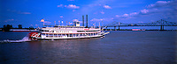 Steamboat Natchez on the the Mississippi River with the Crescent City Connection bridge in background, New Orleans, Louisiana USA